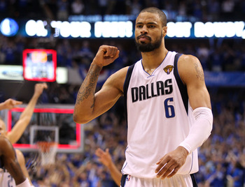 DALLAS, TX - JUNE 09:  Tyson Chandler #6 of the Dallas Mavericks reacts after the Mavericks defeated the Miami Heat 112-103 in Game Five of the 2011 NBA Finals at American Airlines Center on June 9, 2011 in Dallas, Texas.  NOTE TO USER: User expressly ack