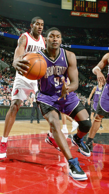 PORTLAND, OR - JANUARY 12:  Ron Artest #93 of the Sacramento Kings controls the ball during the NBA game against the Portland Trail Blazers on January 12, 2007 at the Rose Garden in Portland, Oregon. The Blazers won 95-87. NOTE TO USER: User expressly ack