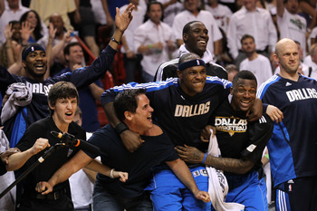 MIAMI, FL - JUNE 12:  Owner Mark Cuban, Brendan Haywood #33 and DeShawn Stevenson #92 of the Dallas Mavericks react on the bench late in the fourth quarter while taking on the Miami Heat in Game Six of the 2011 NBA Finals at American Airlines Arena on Jun