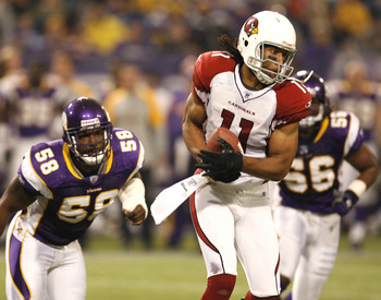 In 2010 Larry Fitzgerald posted 107 yards receiving. Only once in four regular season games has Minnesota held Fitzgerald under 100 yards receiving.