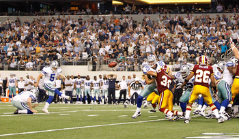Dan Bailey kicking one of six fild goals in a victory over Washington in the Dallas home opener.