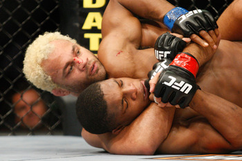 Koscheck whispered some unpleasantries in Paul Daley's ear during their fight from this position.