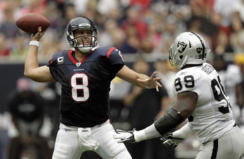 Matt Schaub endured a tough game against the Raiders.