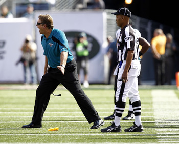 EAST RUTHERFORD, NJ - SEPTEMBER 18:  Jack Del Rio, head coach of the Jacksonville Jaguars complains to a referee during a game against the New York Jets at MetLife Stadium on September 18, 2011 in East Rutherford, New Jersey.  (Photo by Jeff Zelevansky/Ge