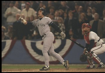 23 Oct 1996: First baseman Jim Leyritz of the New York Yankees watches the ball fly during Game Four of the World Series against the Atlanta Braves at Fulton County Stadium in Atlanta, Georgia. The Yankees won the game, 8-6.