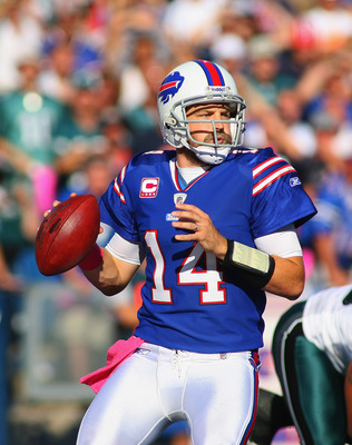 ORCHARD PARK, NY - OCTOBER 09:  Ryan Fitzpatrick #14 of the Buffalo Bills looks to pass against the Philadelphia Eagles at Ralph Wilson Stadium on October 9, 2011 in Orchard Park, New York.  Buffalo won 31-24.  (Photo by Rick Stewart/Getty Images)