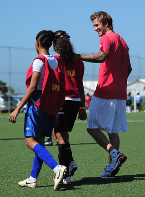 Beckham passing along his knowledge to future generations.