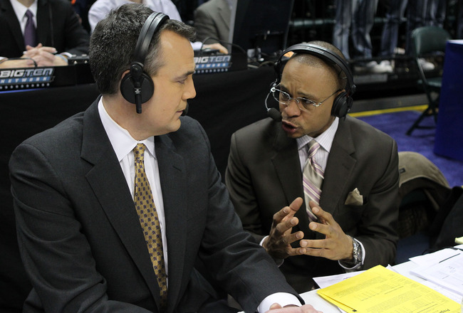 INDIANAPOLIS, IN - MARCH 10:  Big Ten Network announcers Gus Johnson (R) and Shon Morris call the game between the Indiana Hoosiers and the Penn State Nittany Lions during the first round of the 2011 Big Ten Men's Basketball Tournament at Conseco Fieldhou