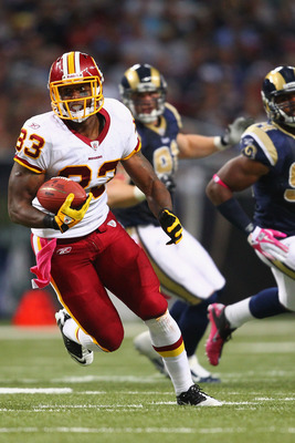 ST. LOUIS, MO - OCTOBER 2:  Fred Davis #83 of the Washington Redskins runs up fields against the St. Louis Rams at the Edward Jones Dome on October 2, 2011 in St. Louis, Missouri.  The Redskins beat the Rams 17-10.  (Photo by Dilip Vishwanat/Getty Images)