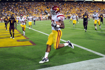 TEMPE, AZ - SEPTEMBER 24:  Marc Tyler #26 of the University of Southern California Trojans scores a touchdown against the Arizona State Sun Devils at Sun Devil Stadium on September 24, 2011 in Tempe, Arizona.  (Photo by Norm Hall/Getty Images)