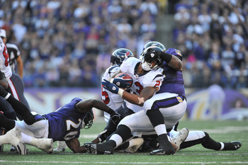 Arian Foster was contained by the Ravens defense.