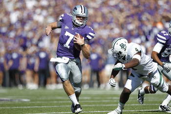 Junior QB Collin Klein evades the Baylor defense. Kansas State defeated the Bears, 36-35.