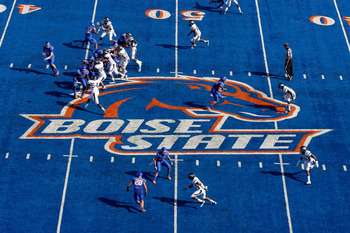 That blue turf. All about that Boise State blue turf.