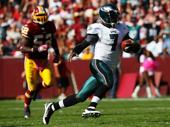 Michael Vick rushed for 54 yards against Washington.