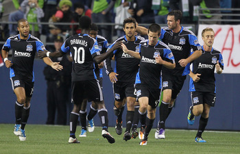 Chris Wondolowski, center, scored in the first half for San Jose, but it wasn't enough.