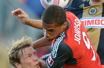 Ryan Johnson, right, scored a second-half equalizer for Toronto FC.