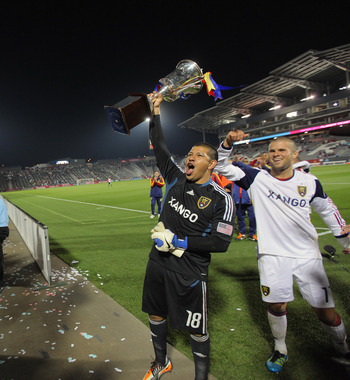 Rock-solid defending helped Real Salt Lake defend their Rocky Mountain Cup, held by goalkeeper Nick Rimando.