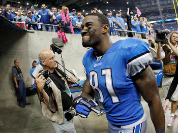 DETROIT, MI - OCTOBER 10:   Calvin Johnson #81 of the Detroit Lions leaves the field after defeating the Chicago Bears 24-13 at Ford Field on October 10, 2011 in Detroit, Michigan.  (Photo by Gregory Shamus/Getty Images)