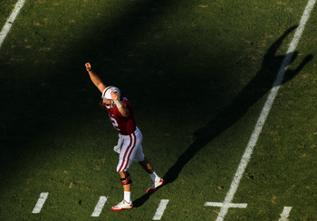 STANFORD, CA - OCTOBER 08:  Andrew Luck #12 of the Stanford Cardinal celebrates after the Cardinal scored a touchdown against the Colorado Buffaloes at Stanford Stadium on October 8, 2011 in Stanford, California.  (Photo by Ezra Shaw/Getty Images)