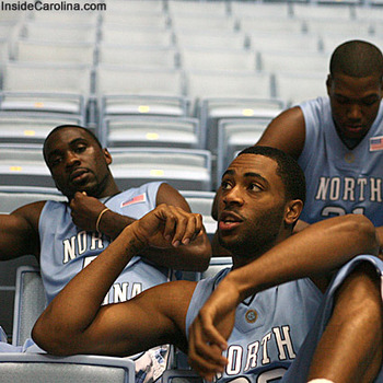 Ty Lawson, Wayne Ellington, and Deon Thompson