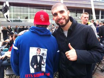 """This dude's wearing a jumper with my photo on it...I've officially arrived"""