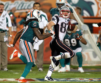 This 99-yard TD reception against the Miami Dolphins came on a play in which Welker was lined up in the slot.