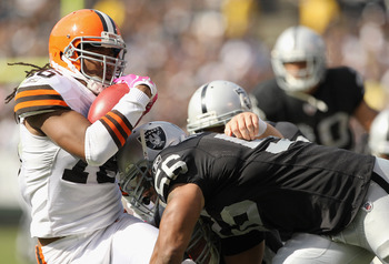 Josh Cribbs and the Browns struggled on the ground against the Raider defense