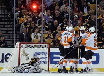 One of few times that Tim Thomas has watched a team celebrate after scoring a goal on him this season
