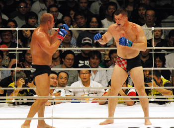 PRIDE Heavy Weight Title Match, Emelianenko Fedor VS Mirko Crocop (Photo by Tomokazu Tazawa/Getty Images)