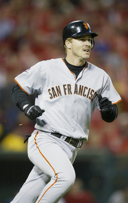 ANAHEIM, CA - OCTOBER 27:  Jeff Kent #21 of the San Francisco Giants runs to first base against the Anaheim Angels during game seven of the World Series on October 27, 2002 at Edison Field in Anaheim, California.  The Angels won the game 4-1 and the Serie