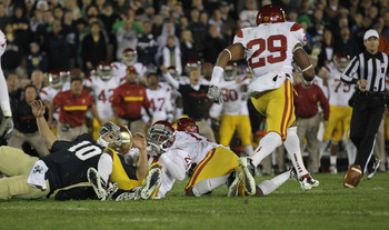 Jawanza Starling chases after a Notre Dame fumble.