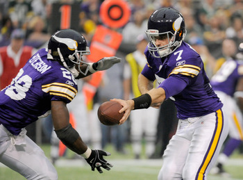 Quarterback Christian Ponder and running back Adrian Peterson created a balanced offense in the first half.