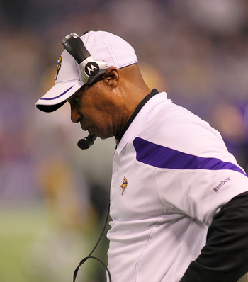 Vikings head coach Leslie Frazier looks on during a game against the Green Bay Packers
