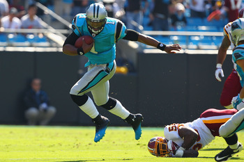 Cam Newton rushed for a touchdown and passed for another as the Panthers scored three touchdowns and two field goals in their five visits to the Red Zone versus the Redskins.