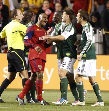 An argument ensues between Real Salt Lake and Portland Timbers players in Portland's 1-1 with RSL.