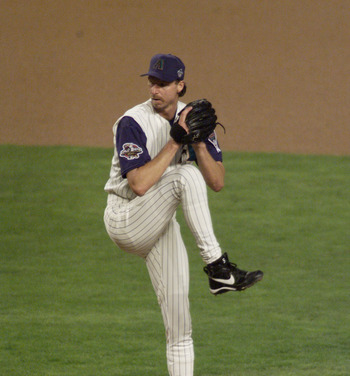 Randy Johnson brings heat in the Arizona desert in the 2001 Fall Classic