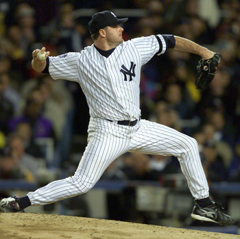 Roger Clemens fires away toward the New York Mets.