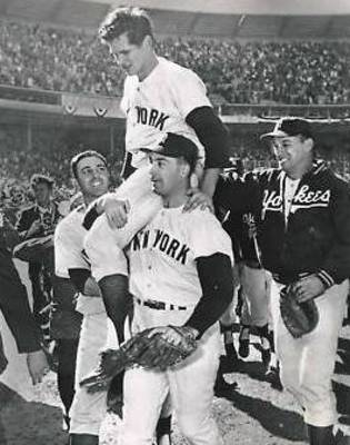 Ralph Terry is hoisted on the backs of Yankee teammates following his 1-0 game 7 victory.