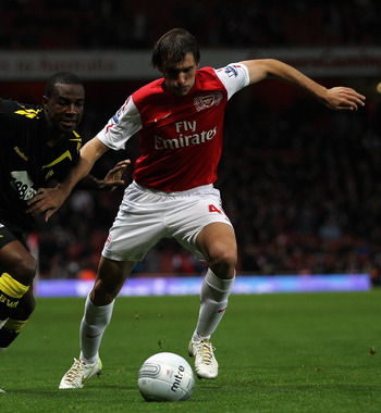 Ignasi Miquel is one of Arsenal's few young defenders.