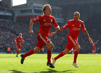 Kuyt notched a memorable hat-trick against United in March