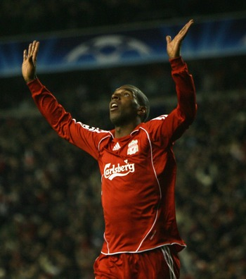 Ryan Babel thanks the heavens after scoring, or seeks forgiveness after diving, I'm not sure which