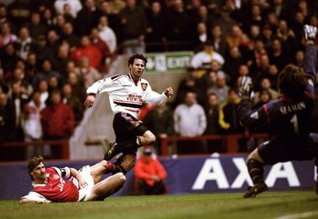Captain Fantastic looks on as Giggs scores past Seaman