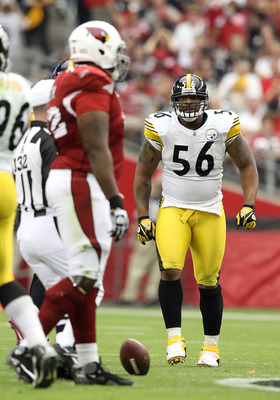 GLENDALE, AZ - OCTOBER 23:  Linebacker LaMarr Woodley #56 of the Pittsburgh Steelers during the NFL game against the Arizona Cardinals at the University of Phoenix Stadium on October 23, 2011 in Glendale, Arizona. The Steelers defeated the Cardinals 32-20