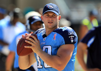 JACKSONVILLE, FL - SEPTEMBER 11:  Jake Locker #10 of the Tennessee Titans against the Jacksonville Jaguars during their season opener at EverBank Field on September 11, 2011 in Jacksonville, Florida.  (Photo by Streeter Lecka/Getty Images)