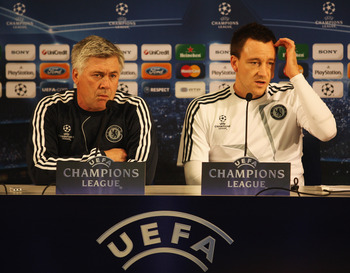 John Terry and Carlo Ancelotti look positively baffled