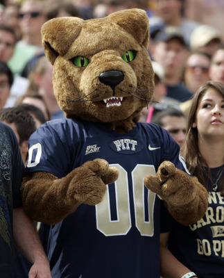 PITTSBURGH, PA - SEPTEMBER 24: Roc the Pittsburgh Panther cheers against the Notre Dame Fighting Irish during the game on September 24, 2011 at Heinz Field in Pittsburgh, Pennsylvania. The Irish defeated the Panthers 15-12. (Photo by Justin K. Aller/Ge
