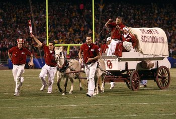 KANSAS CITY, MO - DECEMBER 6: The Oklahoma Sooner Schooner rolls onto the field before the Big 12 Championship game between the Oklahoma Sooners and the Missouri Tigers at Arrowhead Stadium on December 6, 2008 in Kansas City, Missouri. The Sooners defeat