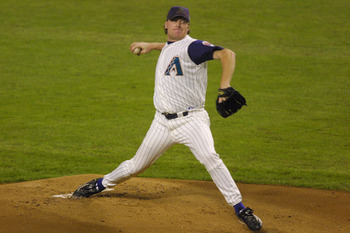 4 Nov 2001:  Curt Schilling #38 of the Arizona Diamondbacks delivers a pitch during the first inning of game 7 of the World Series against the New York Yankees at Bank One Ballpark in Phoenix, Arizona. The Diamondbacks defeated the Yankees 3-2. DIGITAL IM