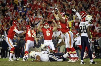 The Chiefs celebrate the win over the Chargers.