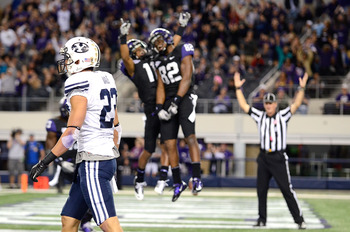 TCU celebrates a touchdown against BYU
